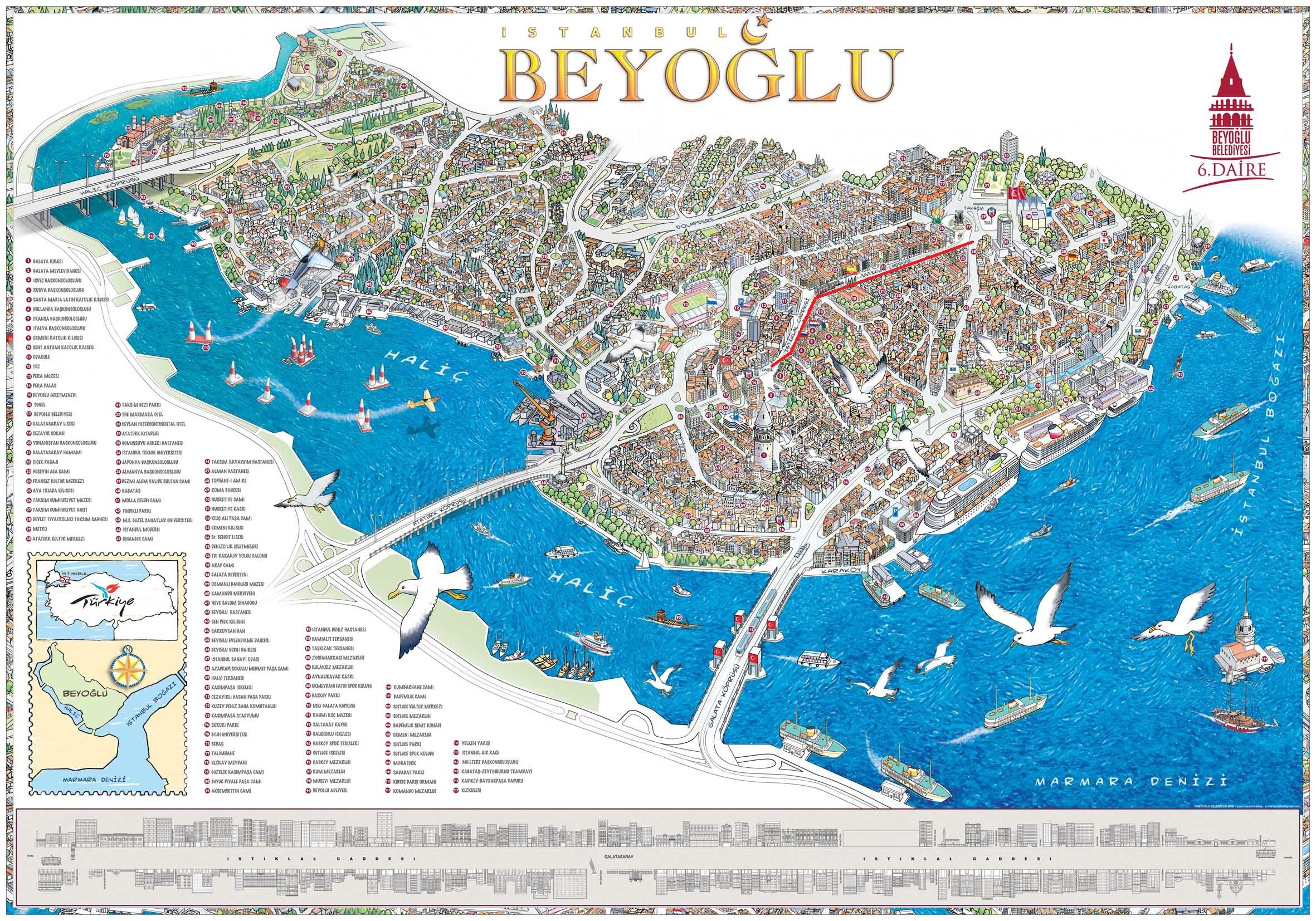 Где находится улица истикляль на карте Стамбула