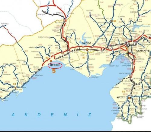 где находится мерсин на карте турции