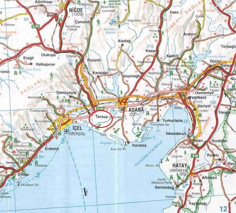 где находится тарсус на карте турции