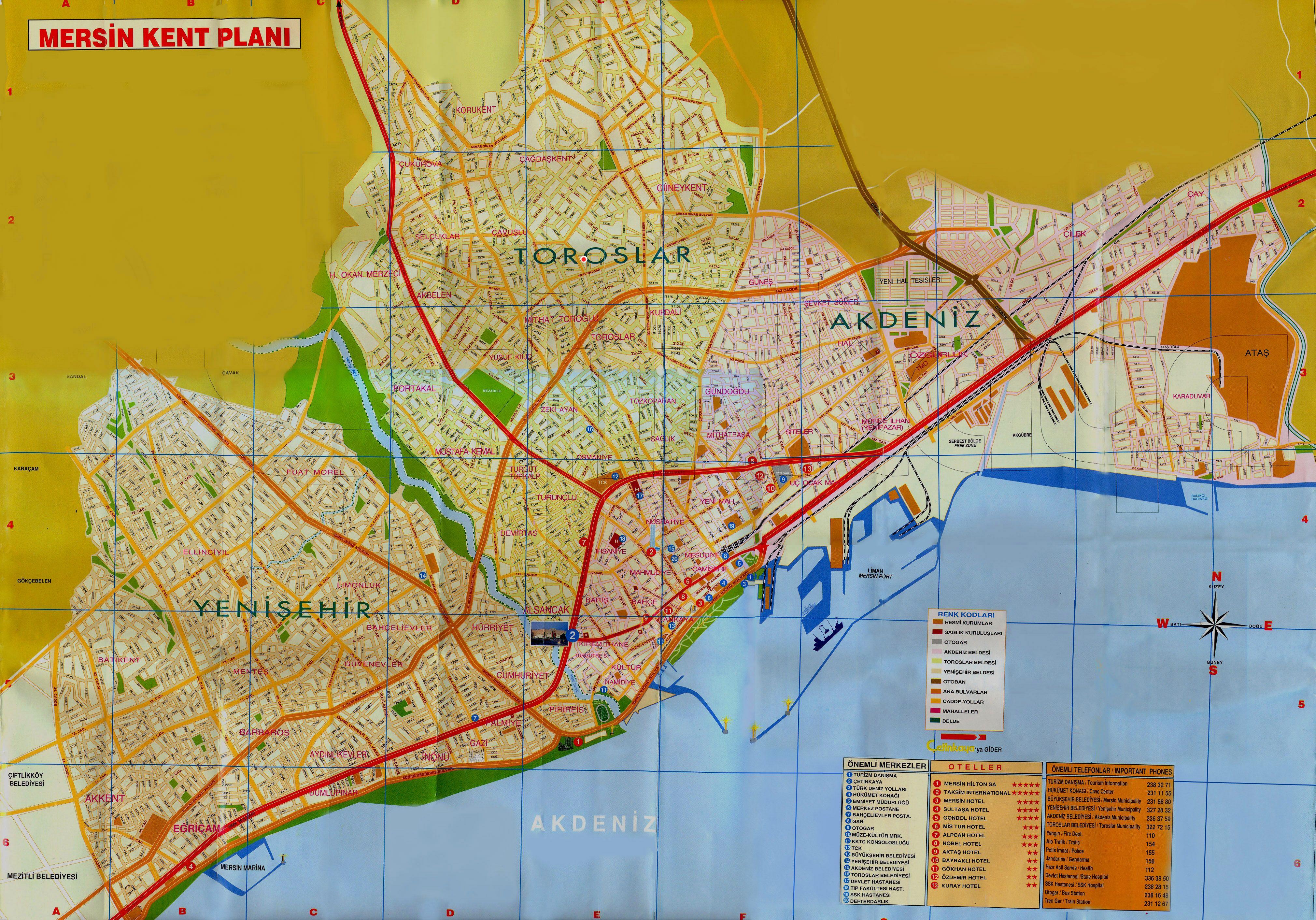 карта Мерсин
