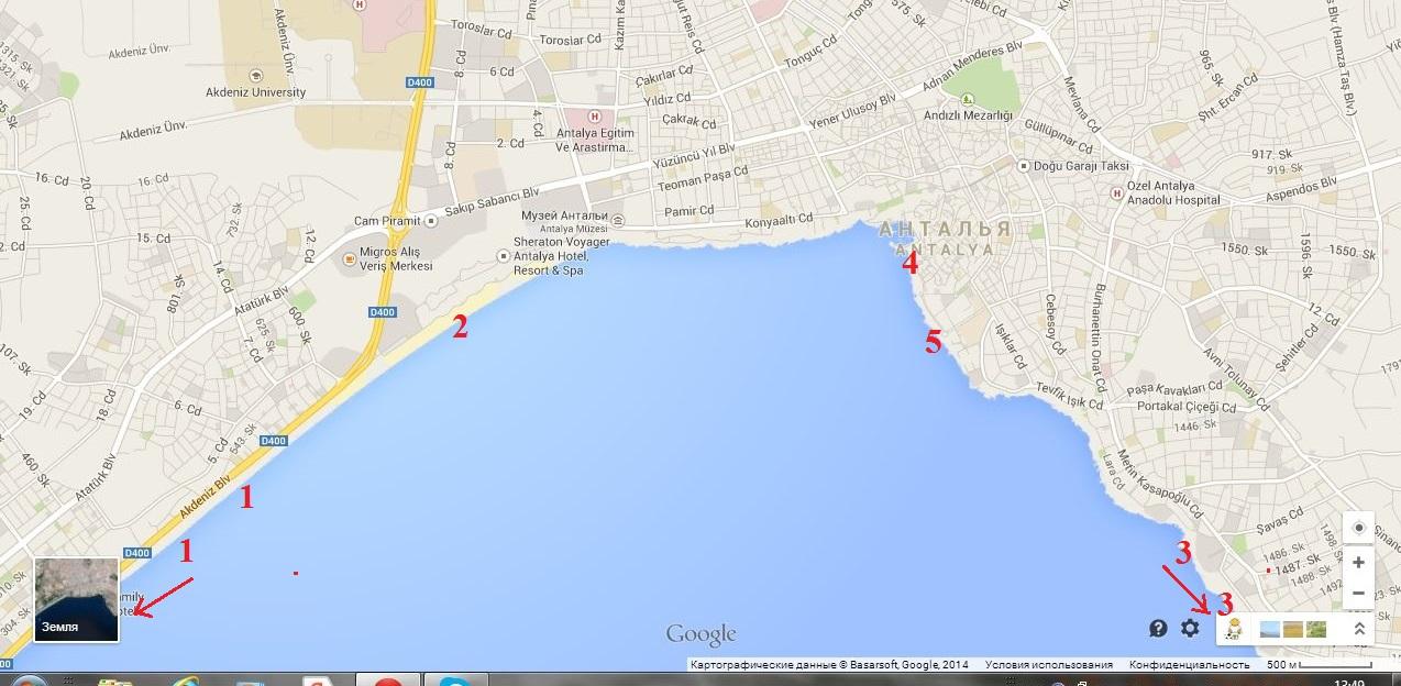 пляжи Антальи на карте