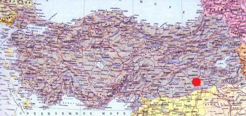 Савур на карте Турции savur