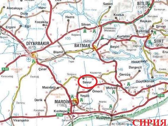 Где находится Савур на карте Турции