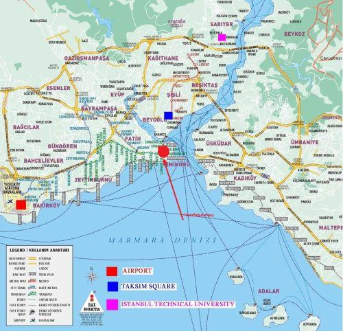 Чемберлиташ на карте Стамбула