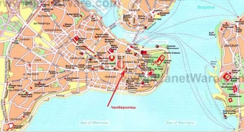 Где находится Чемберлиташ колонна Константина на карте Стамбула