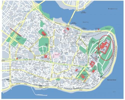 где находится дворец Топкапы на карте Стамбула