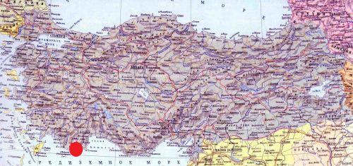 где на карте Турции находится Учаыз Кекова Симена