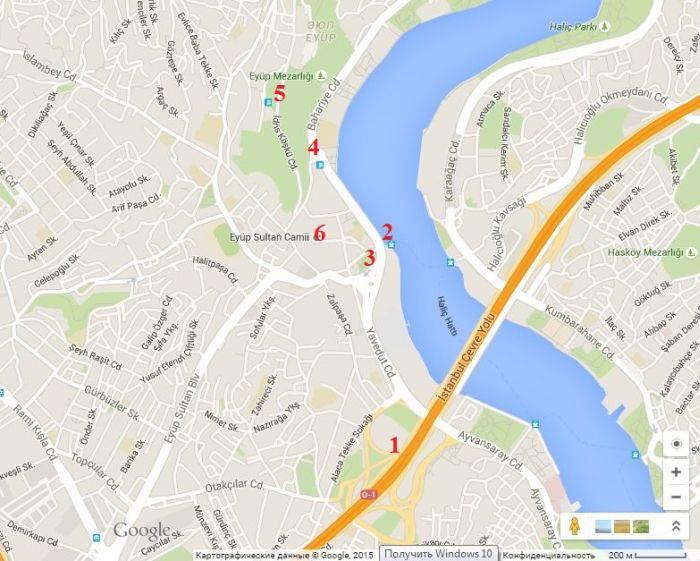 где находится в Стамбуле Эйюп на карте