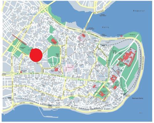 где находится мечеть Календерхане на карте Стамбула