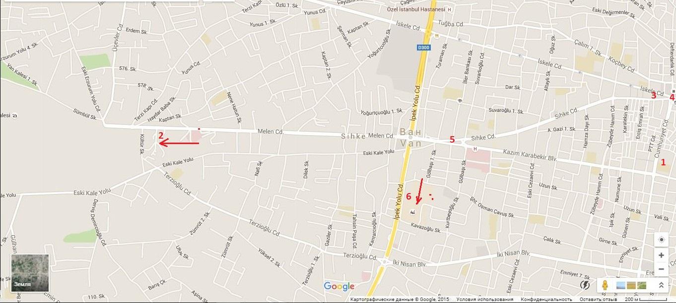 Достопримечательности на карте города Ван