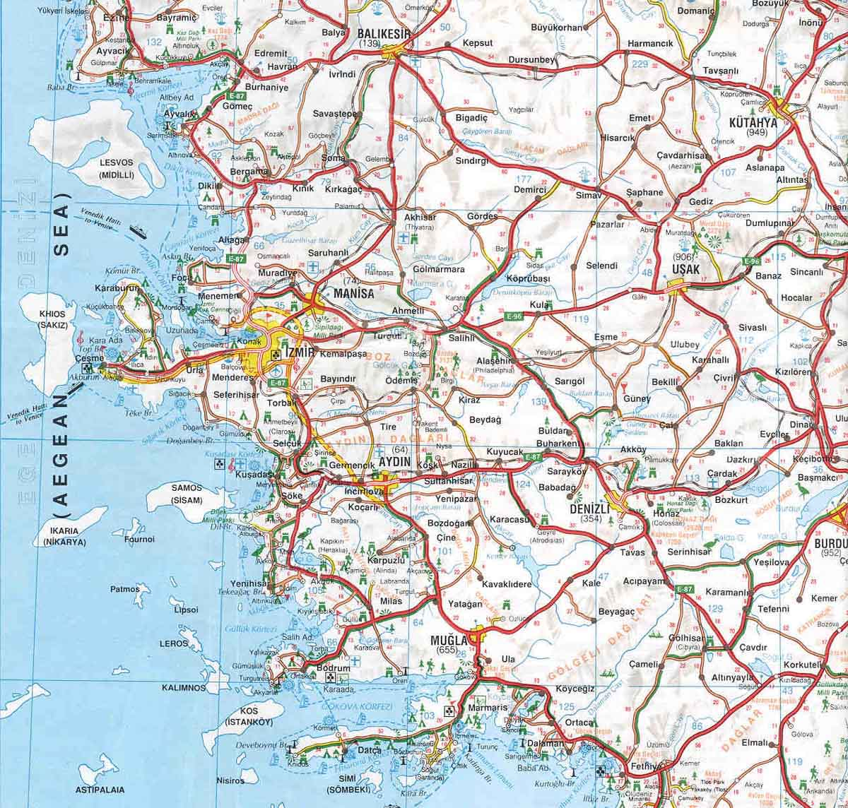 карта Эгейского региона Турции