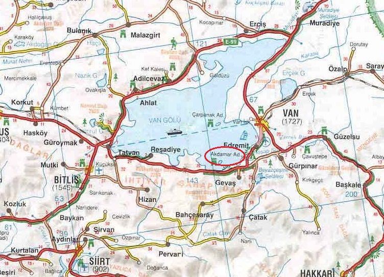 остров Ахматар и церковь святого креста на карте Турции
