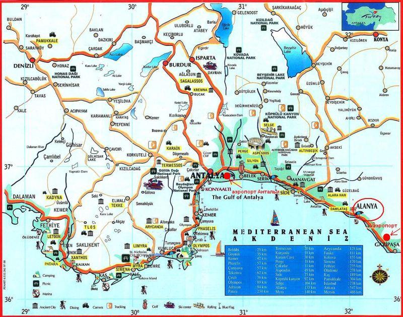 где находится Аланья Alanya на карте Турции