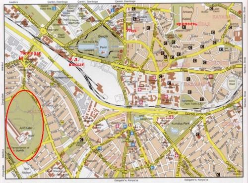Аныткабир на карте Анкары