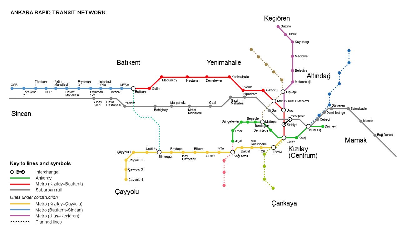 Карта метро Анкары