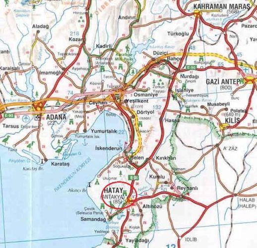 добраться до Антакьи / Хатая на карте Турции