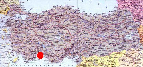 Анталья на карте Турции