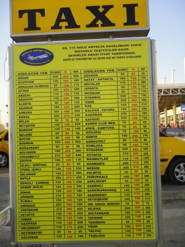 цены на такси из аэропорта антальи