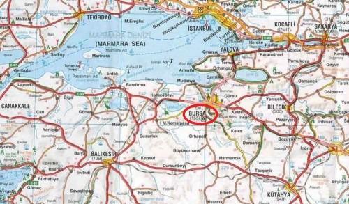 Бурса на карте Турции