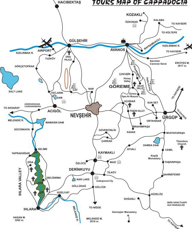 Долина Чат на карте Каппадокии Турция