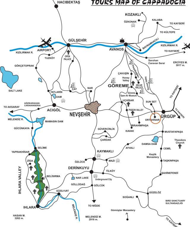 Ортахисар на карте Каппадокии