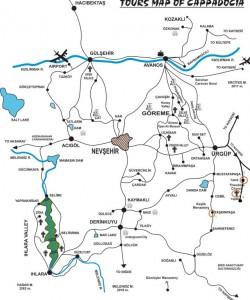 Ташкынпаша на карте Каппадокии