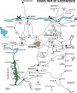 Невшехир на карте Каппадокии Турция