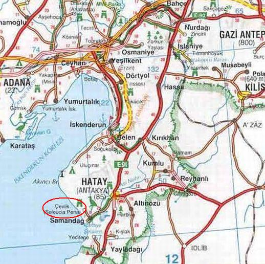 Чевлик на карте Турции