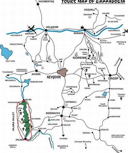 Долина Ихлара на карте Каппадокии Турция