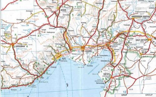 Карта региона Средиземного моря Турции восток