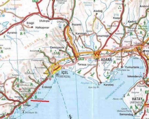 где находится Кызкалеси на карте Турции Kizkalesi