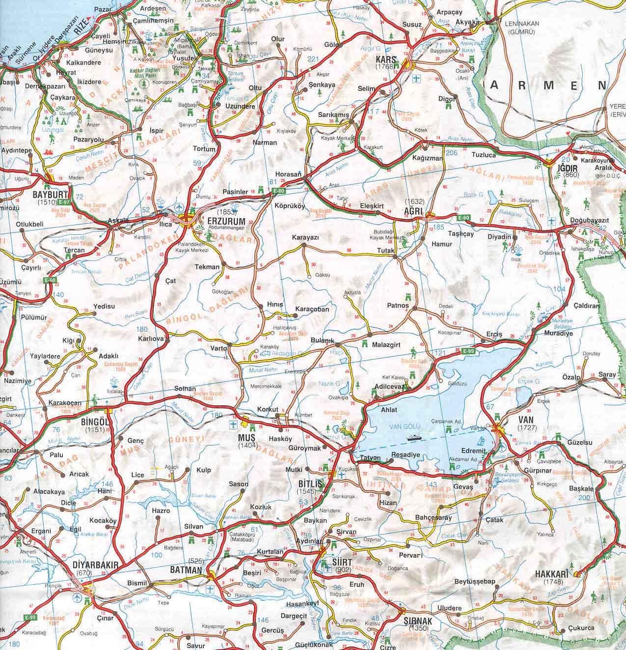 карта Восточной Турции