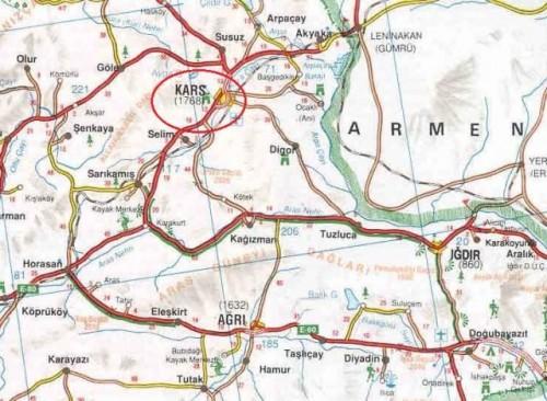 Карс на карте Турции