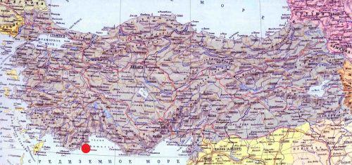 Фазелис на карте Турции