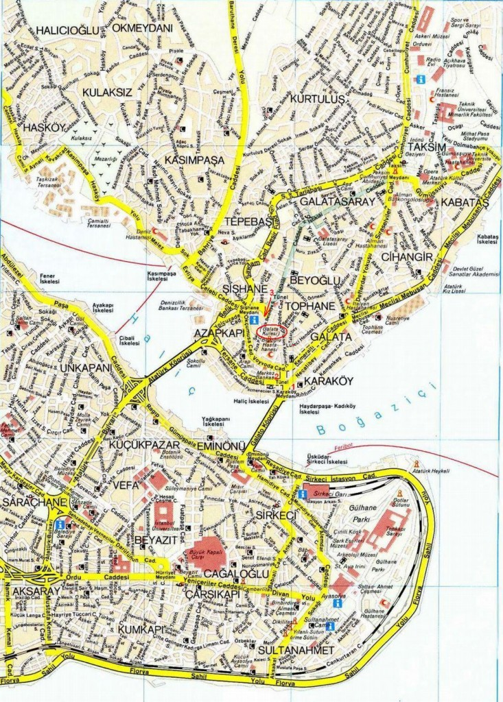 Галатская башня на карте Стамбула