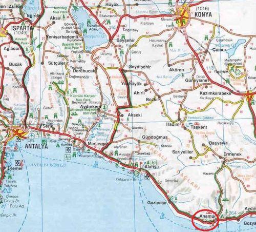где находится анамур на карте турции