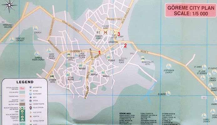 Карта Гёреме с остановками автобуса