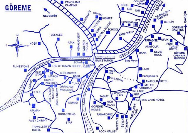 Карта расположения некоторых отелей в Гереме