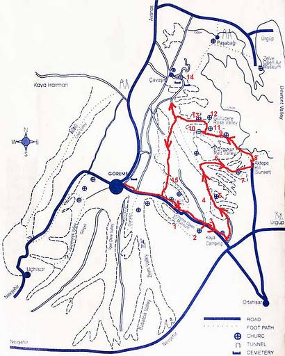 Долины Мескендир, Красная и Розовая на карте Каппадокии