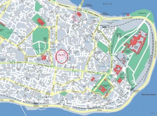 Гранд Базар на карте Стамбула