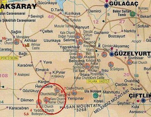 Хелвадере на карте Каппадокии