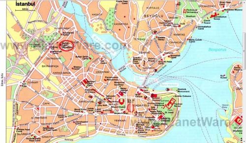 Карийе на карте Стамбула