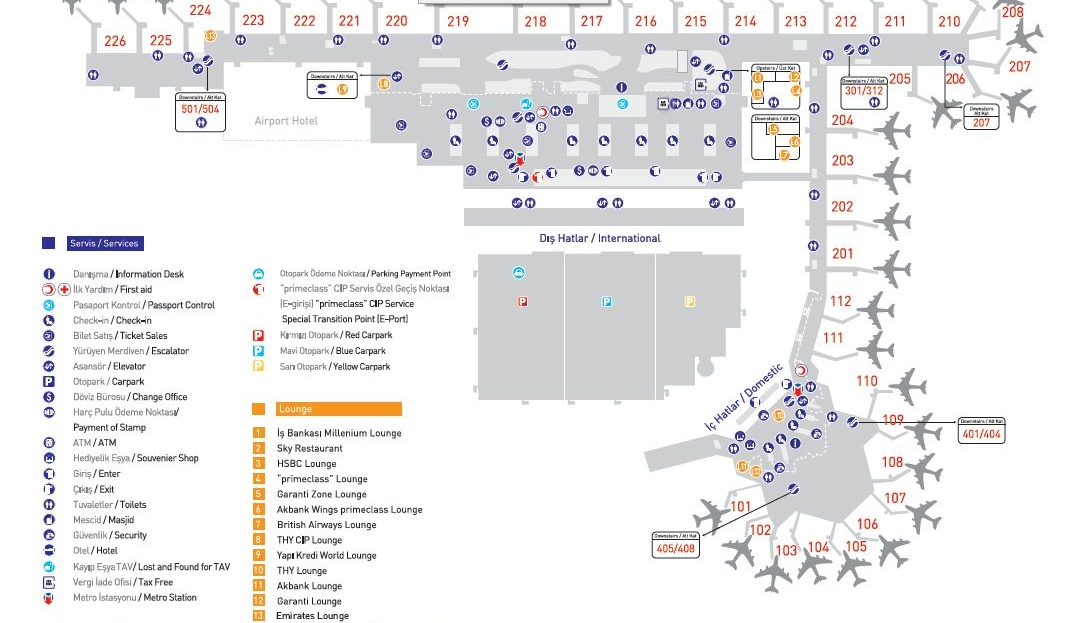 карта зала вылета аэропорта