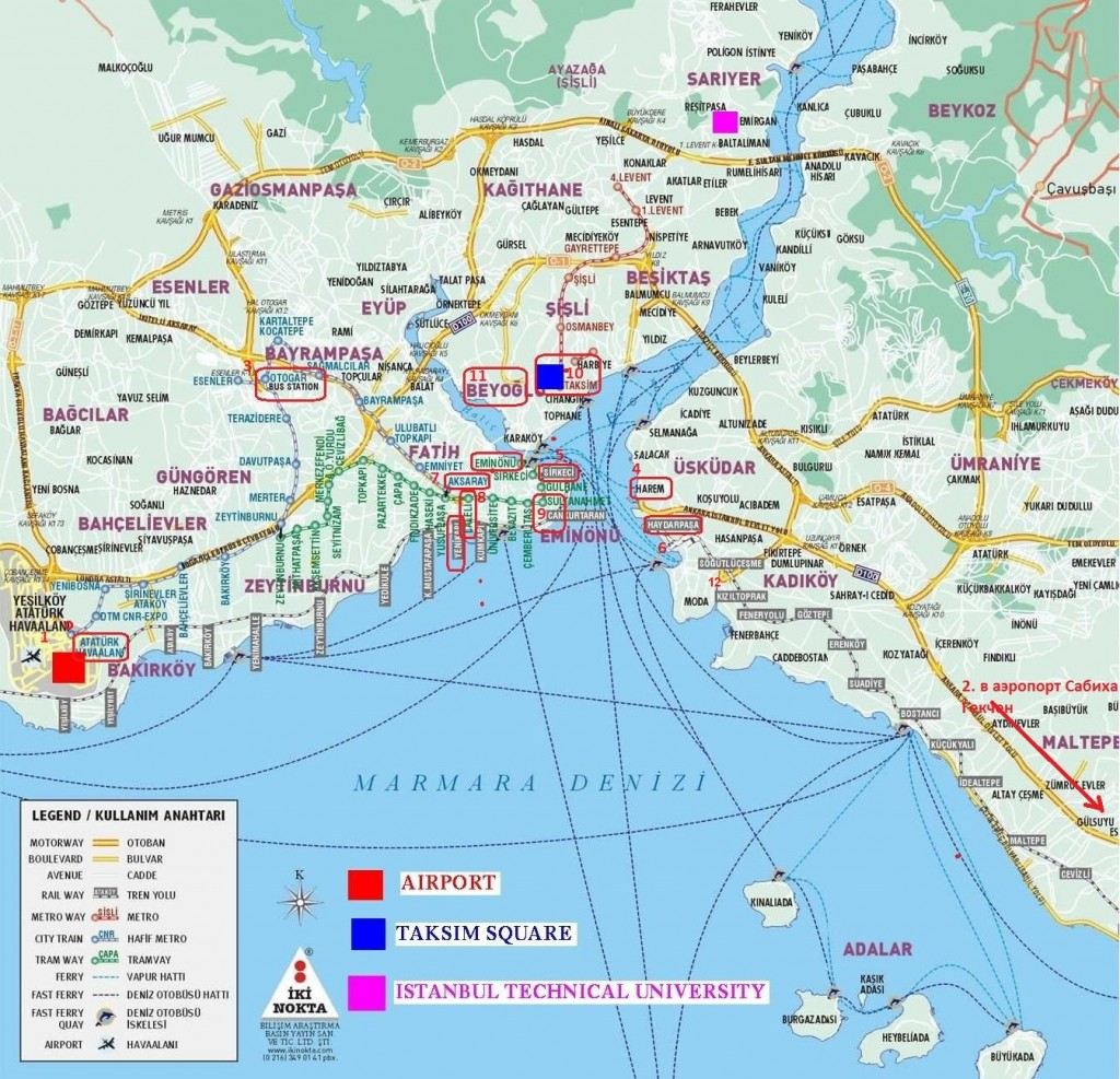 аэропорт Ататюрка на карте Стамбула