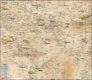 Аксарай на карте Каппадокии Турция