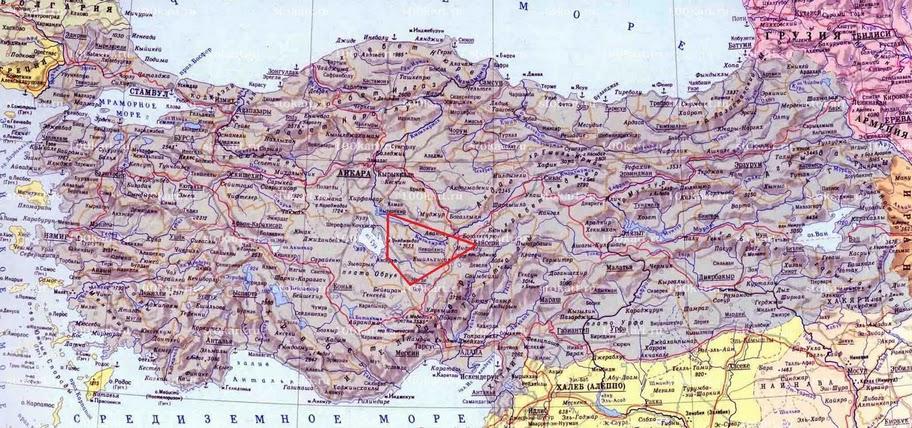 Капппадокия на карте Турции