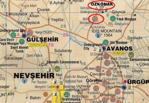 подземный город Озконак и монастырь Белха на карте Каппадокии