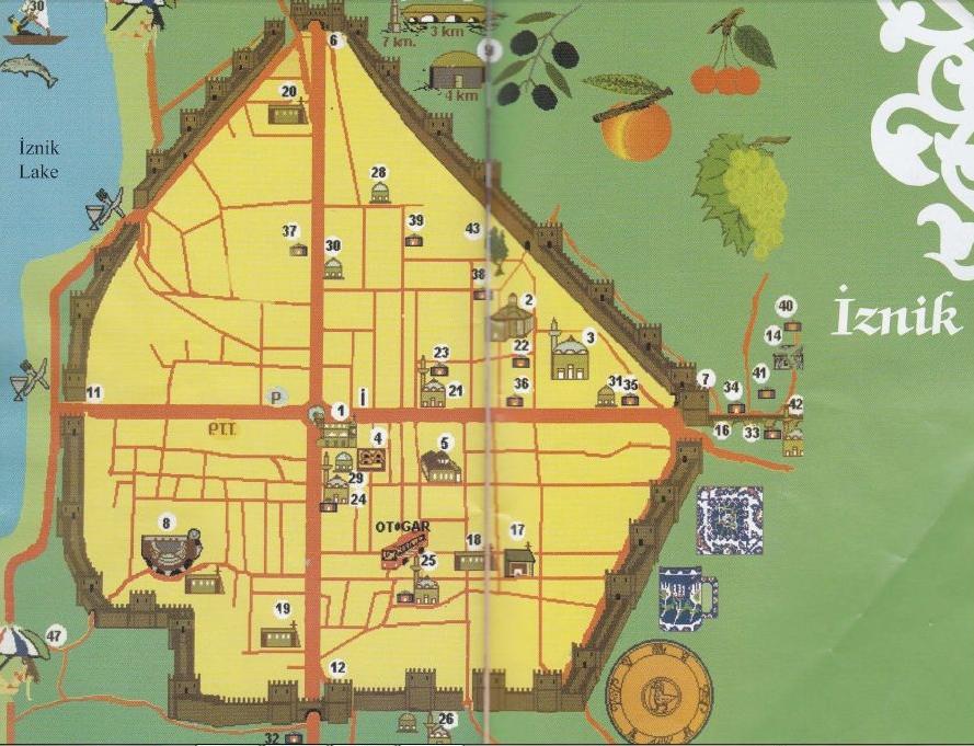 Карта достопримечательностей Изника