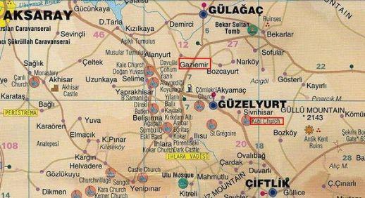 Красная церковь и Газиемир на карте Каппадокии