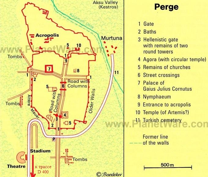 карта схема расположения достопримечательностей Перге